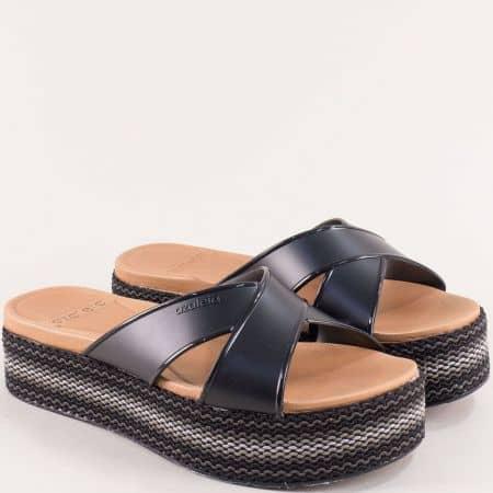 Дамски чехли в черен цвят на платформа- AZALEIA a283519ch