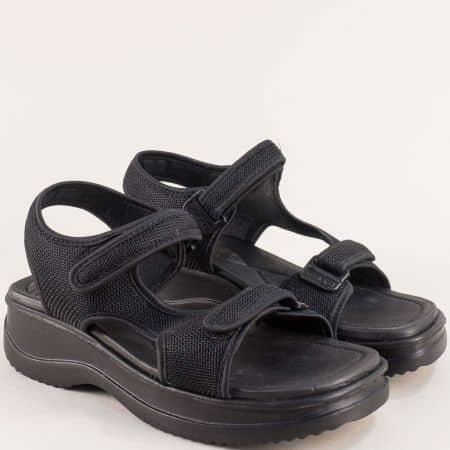 Черни дамски сандали на платформа с две лепки- AZALEIA a320323ch
