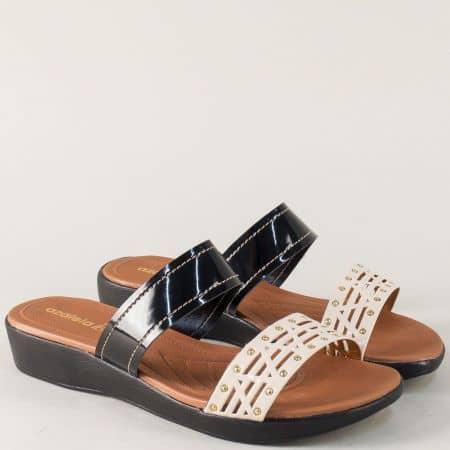 Бразилски дамски чехли в черно и бежово- Azaleia a324159lch