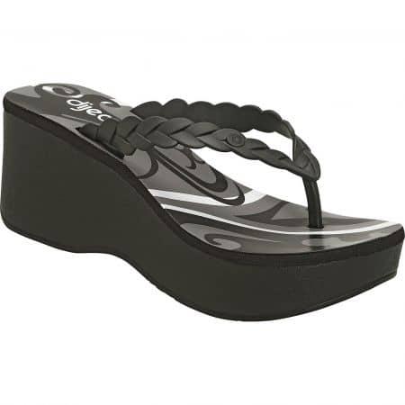 Дамски чехли чели на платформа в бяло, сиво и черно- DIJEAN a370358ch