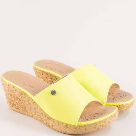 Зелени дамски чехли на клин ходило- AZALEIA a408541z