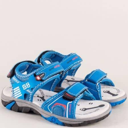 Детски сандали в син цвят с три лепки a482-30s
