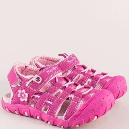 Цикламени детски сандали със затворени пръсти и две лепки a560-35ck