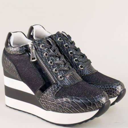 Модерни дамски обувки на платформа в черно и сиво a6055ch