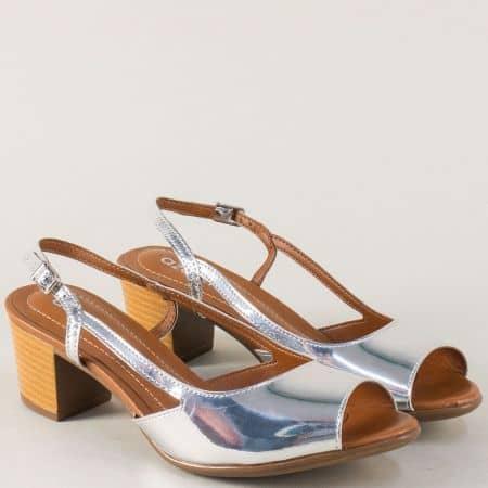Сребърни дамски сандали на среден ток- Azaleia a755210sr