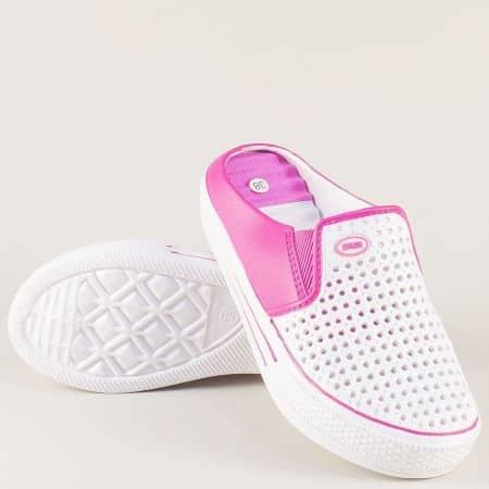 Ежедневни дамски чехли в бял и розов цвят на платформа a785brz