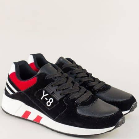 Мъжки маратонки с връзки в червено и черно a8137chchv