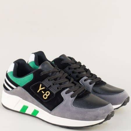 Мъжки маратонки в сиво, зелено и черно на бяло ходило a8137chz