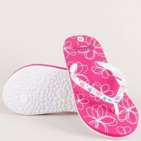 Детски джапанки в розово и бяло на равно ходило a860-35rz