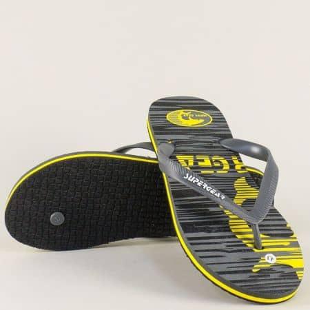 Мъжки джапанки с лента между пръста в сиво и жълто  a895sv
