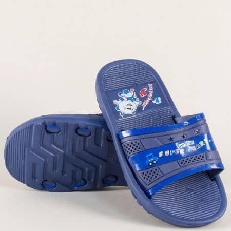 Сини детски джапанки на равно и комфортно ходило a8996s