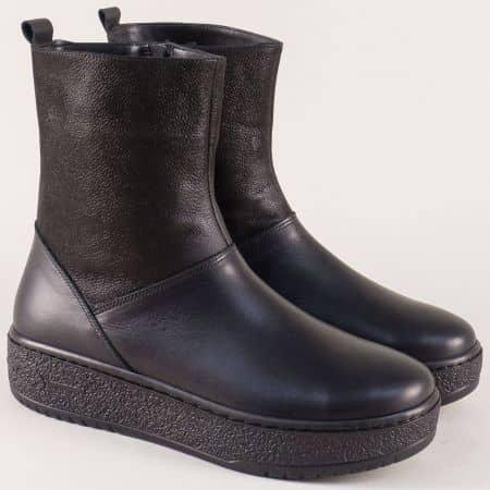 Дамски боти на платформа от естествена кожа в черен цвят a900ch