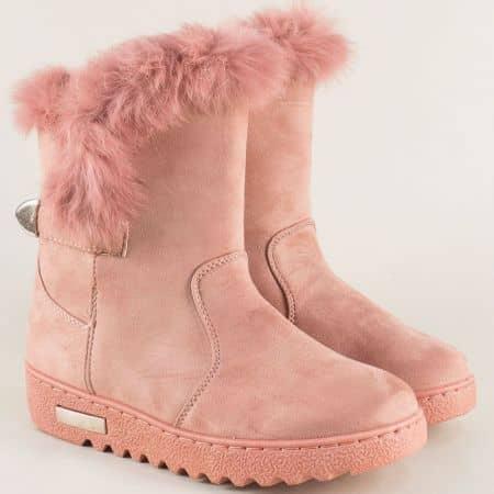Розови дамски боти на платформа с пухче и лепка aa20vrz