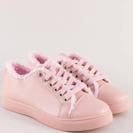 Розови дамски кецове на равно ходило с връзки aa24rz