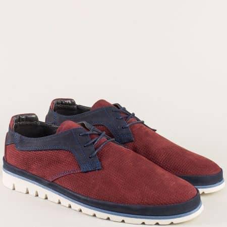 Равни мъжки обувки в бордо и синьо от естествен набук aa2bd