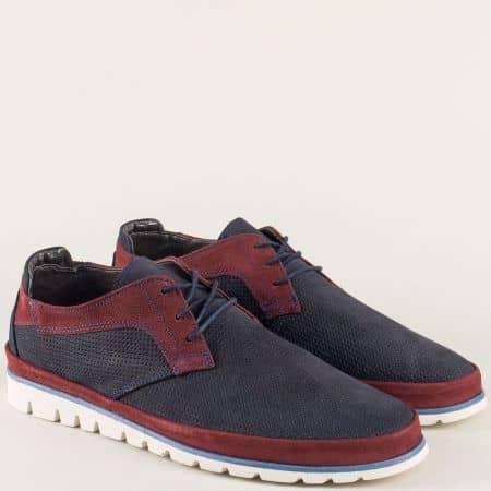 Перфорирани мъжки обувки с връзки в синьо и бордо aa2s