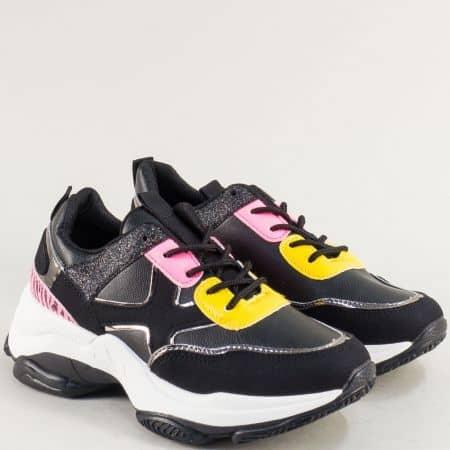 Спортни дамски обувки с връзки в жълто, черно и розово abc295ch