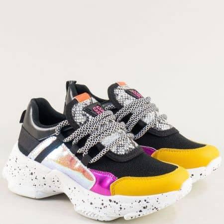 Дамски маратонки в жълто, черно, бяло, лилаво и сребро abc303ch