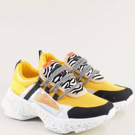 Дамски маратонки в жълто, черно, бяло и сребро abc303j