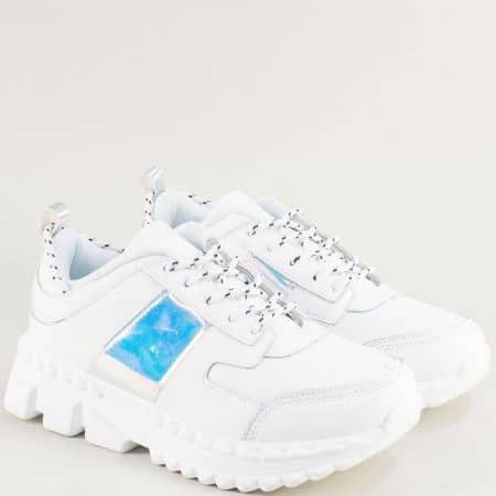 Бели дамски маратонки на платформа с връзки ad201b