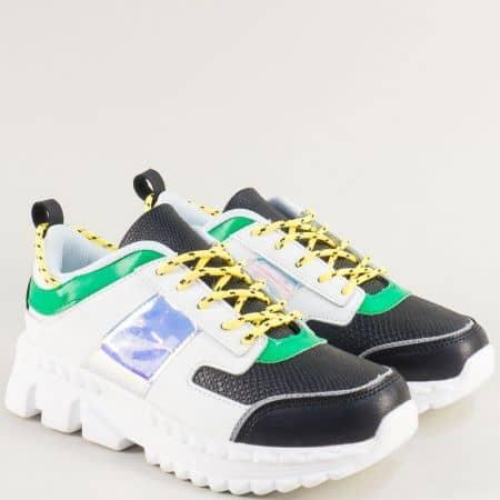 Спортни дамски обувки на платформа в зелено и бяло ad201bps