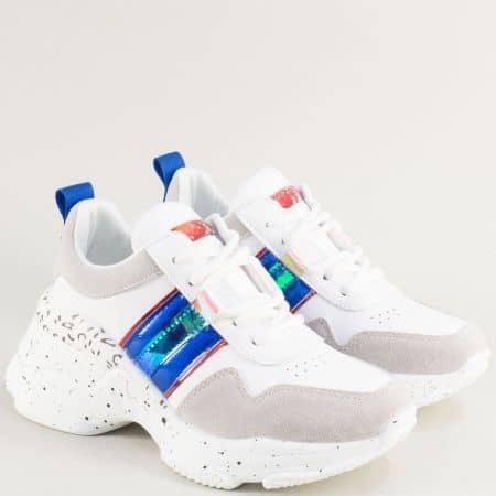 Бели дамски маратонки с връзки на платформа ad206bs