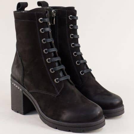 Естествен набук дамски черни боти на висок ток  agata1356nch