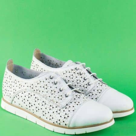 Бели дамски обувки с връзки и кожена стелка- Nota Bene  amina983ab