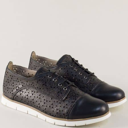 Равни дамски обувки с връзки от черна естествена кожа amina983ach