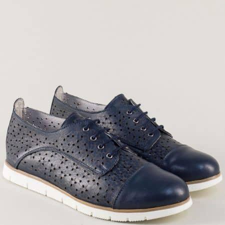 Тъмно сини дамски обувки от естествена кожа с перфорация amina983as