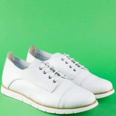 Бели дамски обувки от естествена кожа с връзки amina983b
