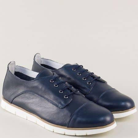 Българкски дамски обувки в син цвят с кожена стелка amina983s