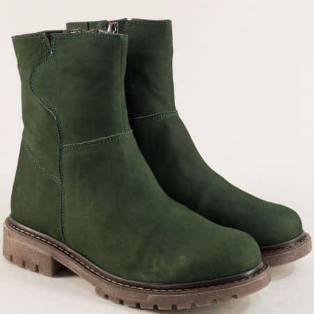 Зелени дамски боти от естествен набук на нисък ток astra121118nz