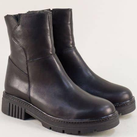 Черни дамски боти от естествена кожа с грайфер- NOTA BENE astra171118ch