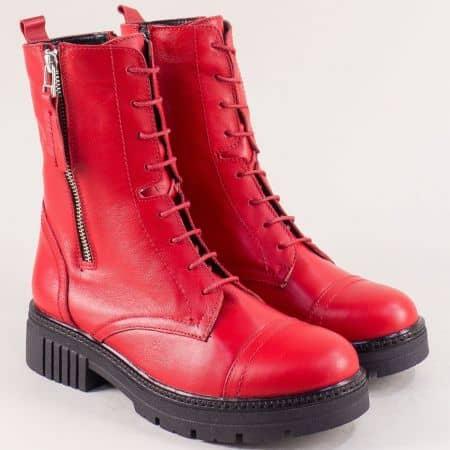 Кожени дамски кубинки в червен цвят- NOTA BENE astra171332chv