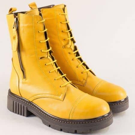 Жълти дамски боти от естествена кожа произведени в България astra171332j