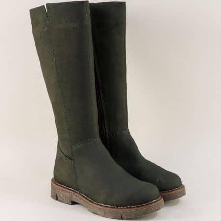 Дамски ботуши от естествен набук в зелен цвят astra91119nz
