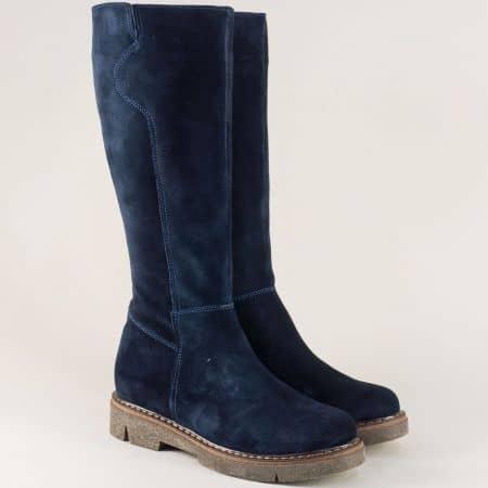 Сини дамски ботуши на каучуково ходило от естествен велур astra91119vs
