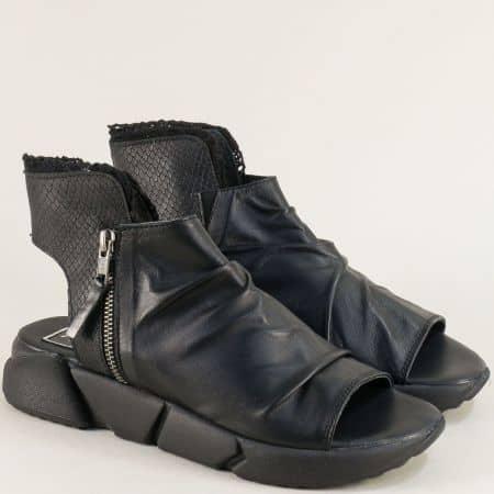 Летни дамски боти на платформа от естествена кожа в черен цвят avorio1ch
