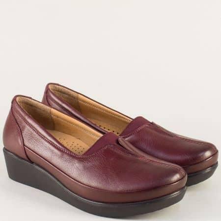 Анатомични дамски обувки от естествена кожа в бордо b012bd
