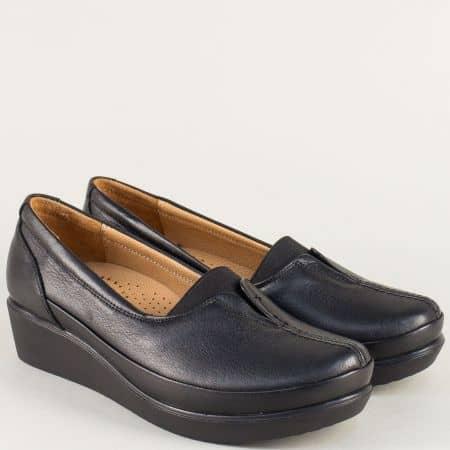Черни дамски обувки на анатомично клин ходило b012ch