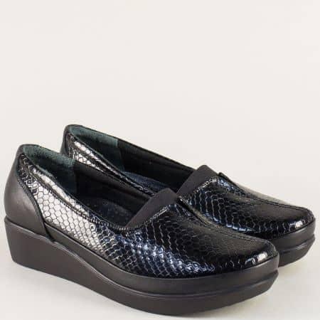 Дамски обувки на платформа от естествена кожа в черно  b012krch