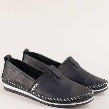 Кожени дамски обувки на равно ходило в черен цвят bo55ch