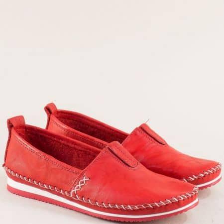 Червени дамски обувки с ластик от естествена кожа bo55chv