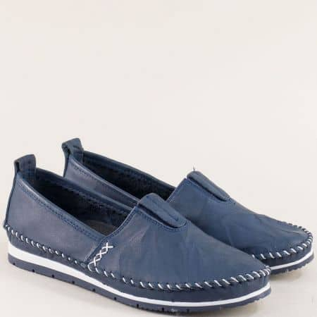 Тъмно сини дамски обувки с ластик от естествена кожа bo55ts
