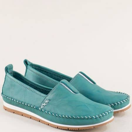 Дамски обувки с ластик на равно ходило в зелен цвят bo55z