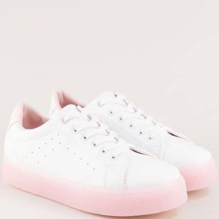 Бели дамски кецове с връзки на розово хдило b09brz