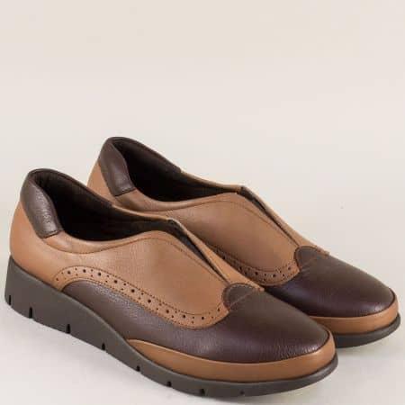 Дамски обувки от естествена кожа в светло и тъмно кафяво b1000k