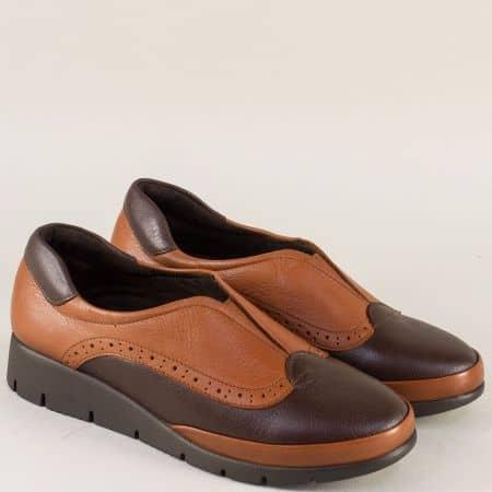 Равни дамски обувки от естествена кожа в кафявата гама  b1000kk