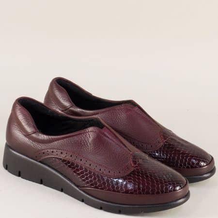 Дамски обувки от естествен лак и кожа в цвят бордо b1000krbd